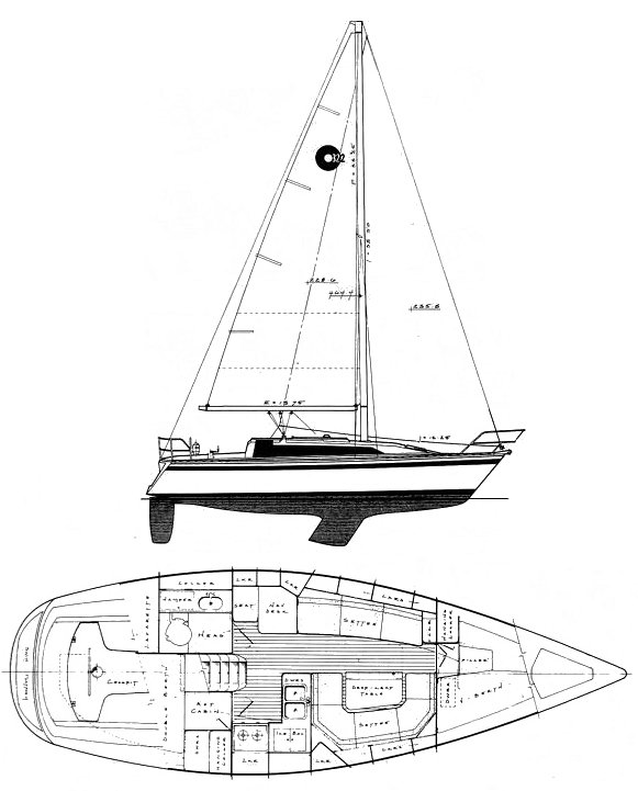 O'Day 322 drawing on sailboatdata.com