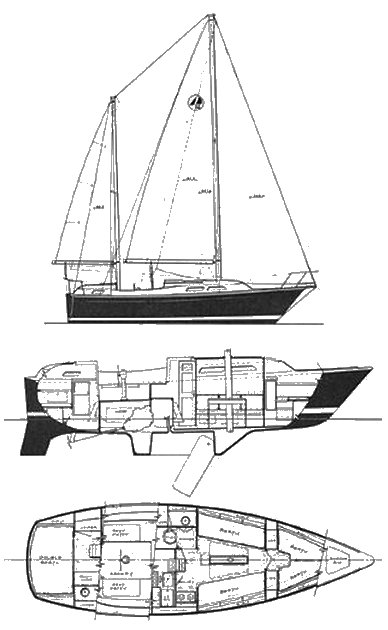 O'Day 32 Ketch drawing on sailboatdata.com