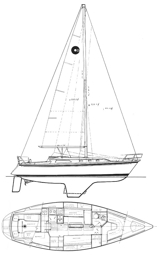 O'Day 35 drawing on sailboatdata.com