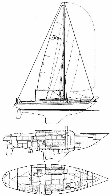 OE 36 drawing on sailboatdata.com