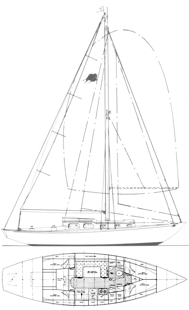 Offshore 36 (Declercq) drawing on sailboatdata.com