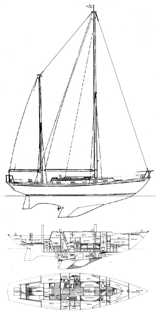 Offshore 47 (Cheoy Lee) drawing on sailboatdata.com