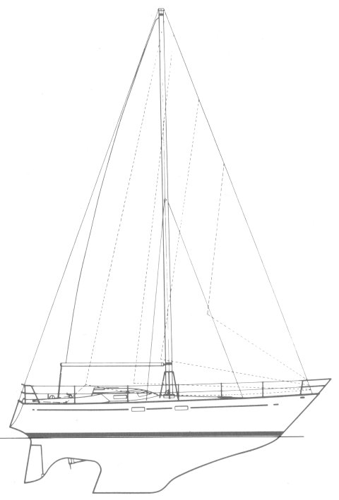 Offshore 34 (Anderson) drawing on sailboatdata.com