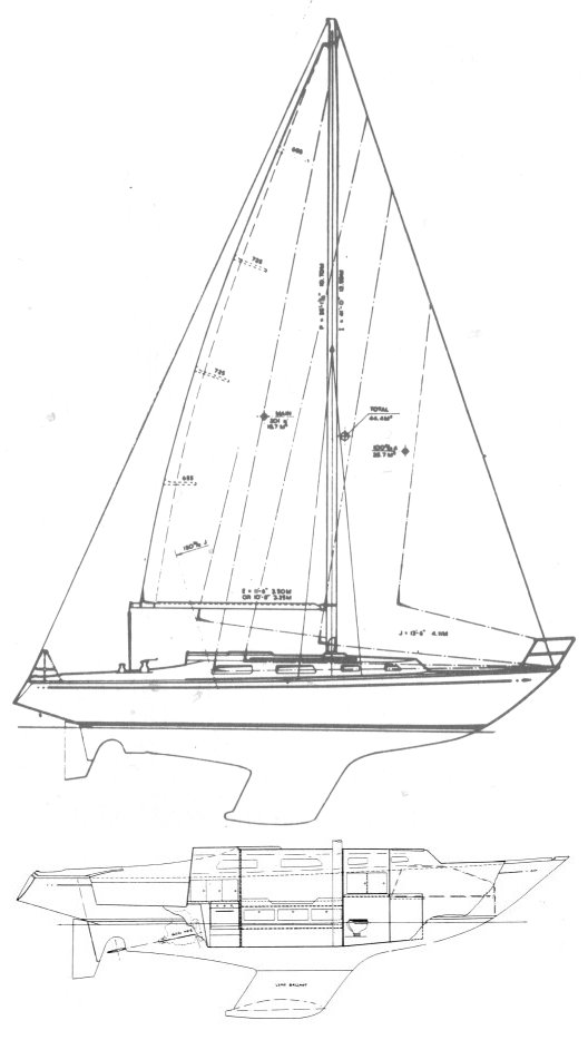 Ohlson 35 drawing on sailboatdata.com