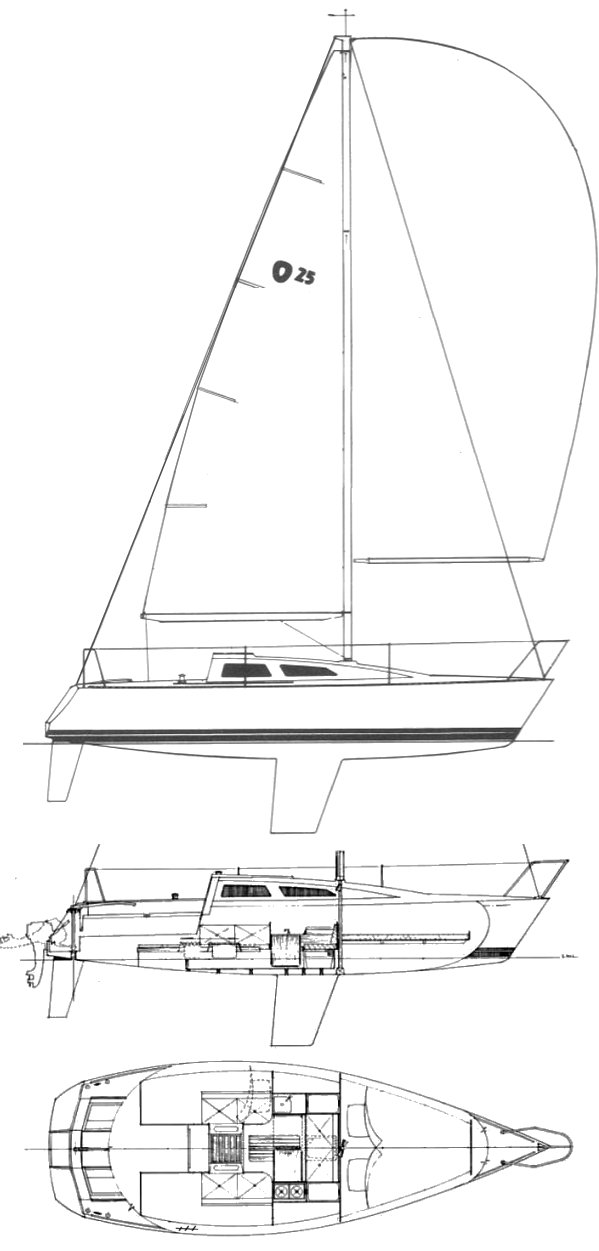 Olsen 25 drawing on sailboatdata.com