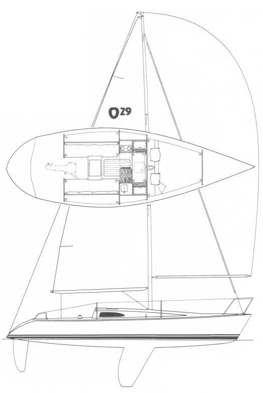 Olson 29 drawing on sailboatdata.com