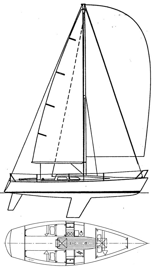 Olson 30 drawing on sailboatdata.com