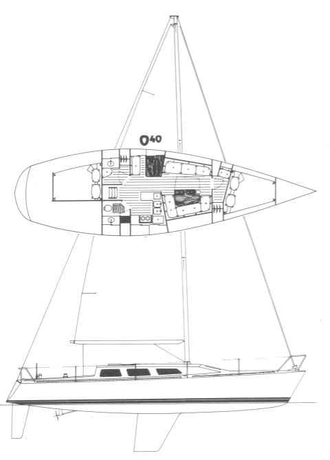 Olson 40 drawing on sailboatdata.com
