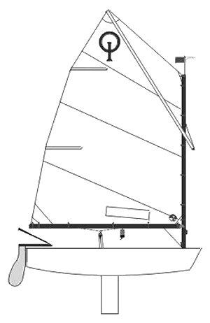 Optimist Dinghy drawing on sailboatdata.com