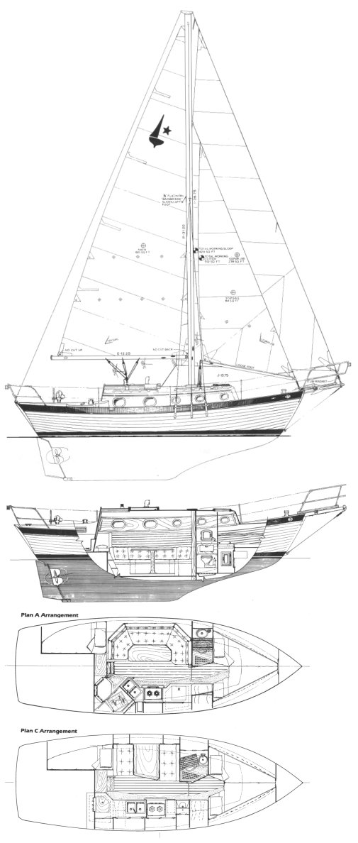 Orion 27 Mk II drawing on sailboatdata.com