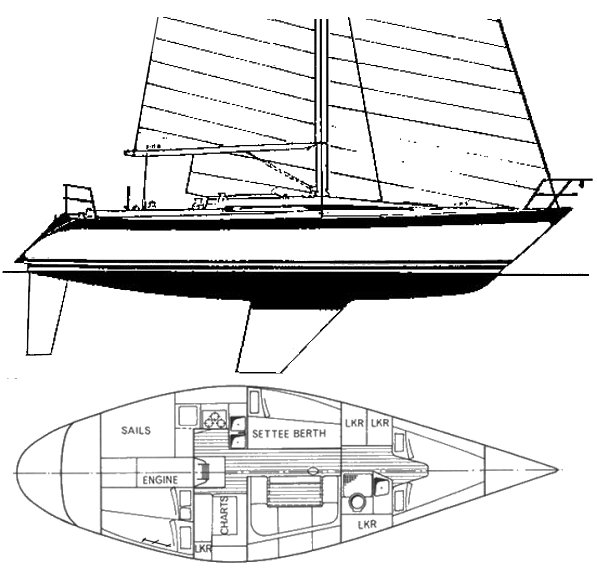 Oyster 37 drawing on sailboatdata.com