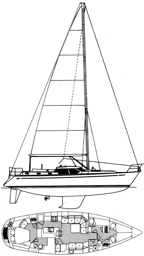 Oyster 45 drawing on sailboatdata.com