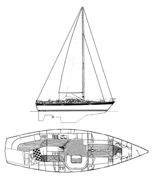Oyster 46 drawing on sailboatdata.com