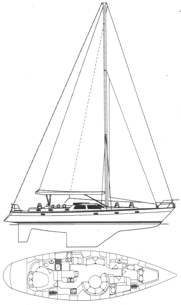 Oyster 55 drawing on sailboatdata.com
