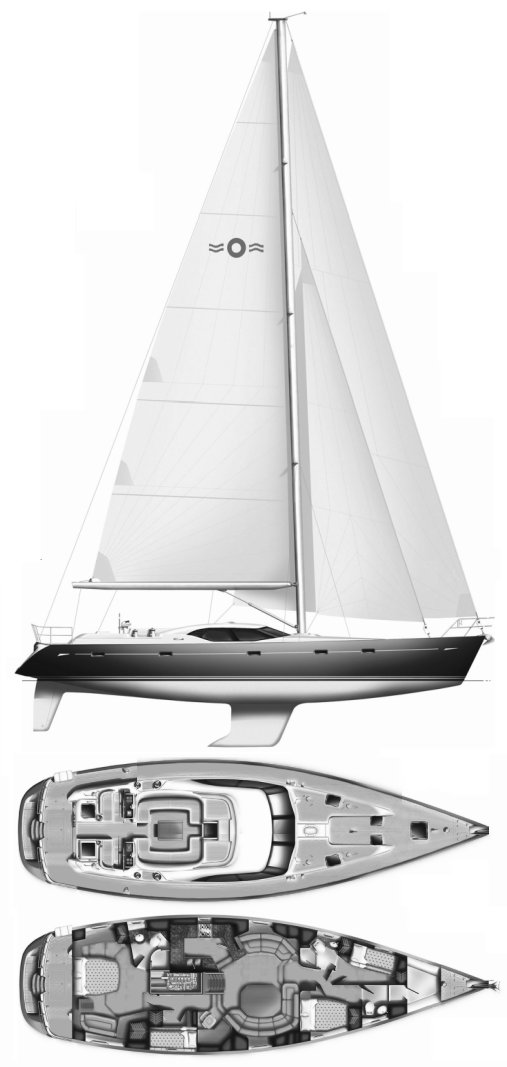 Oyster 655 drawing on sailboatdata.com
