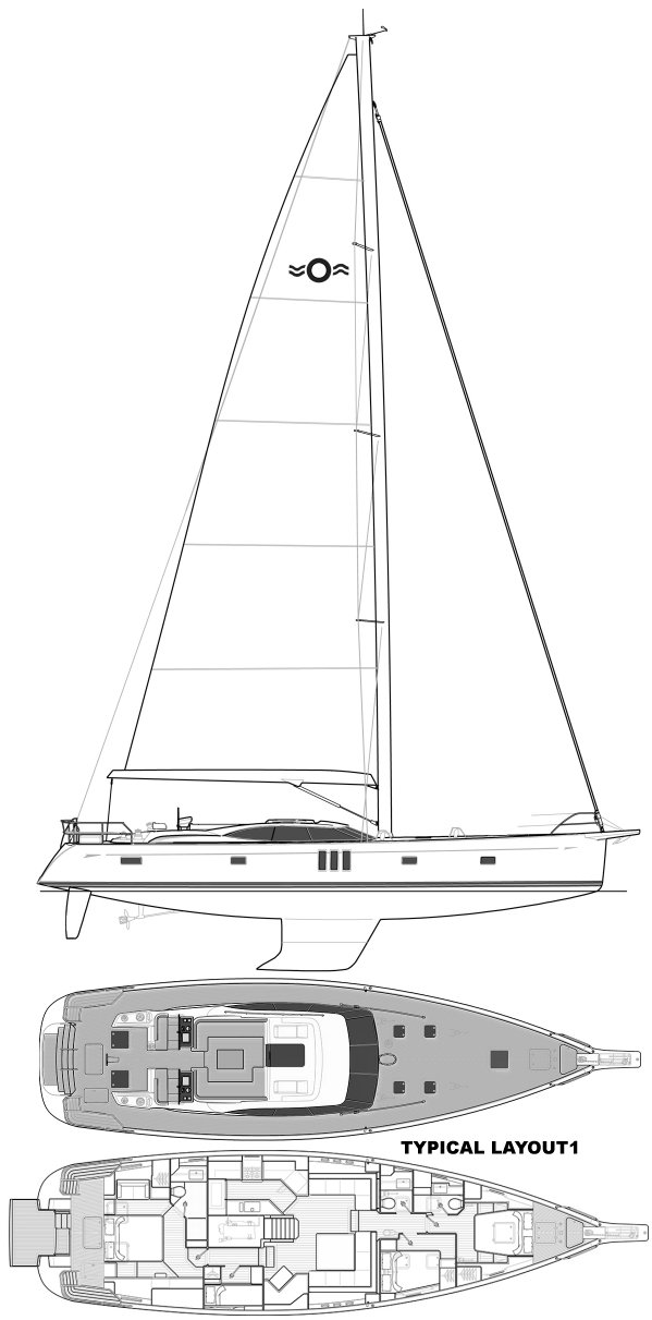Oyster 675 drawing on sailboatdata.com