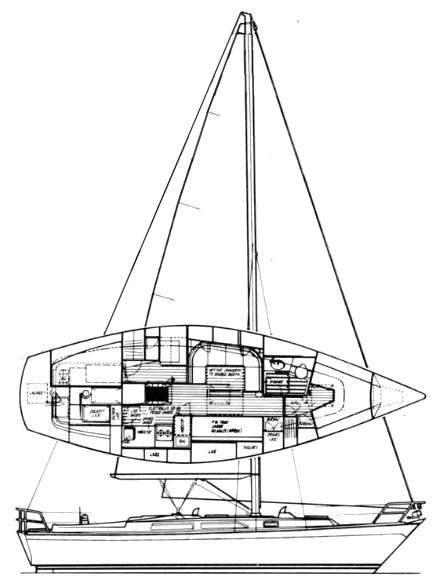 Oyster Heritage 37 drawing on sailboatdata.com