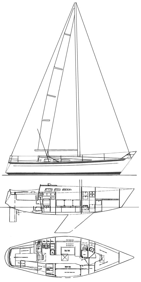 Paceship 32-28 (Chance) drawing on sailboatdata.com