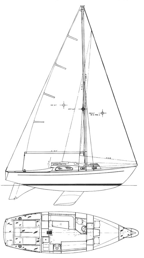 Paceship 32 (Tripp) drawing on sailboatdata.com