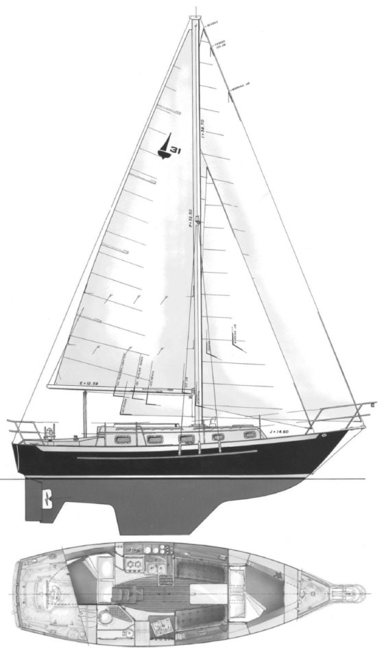 Pacific Seacraft 31 drawing on sailboatdata.com