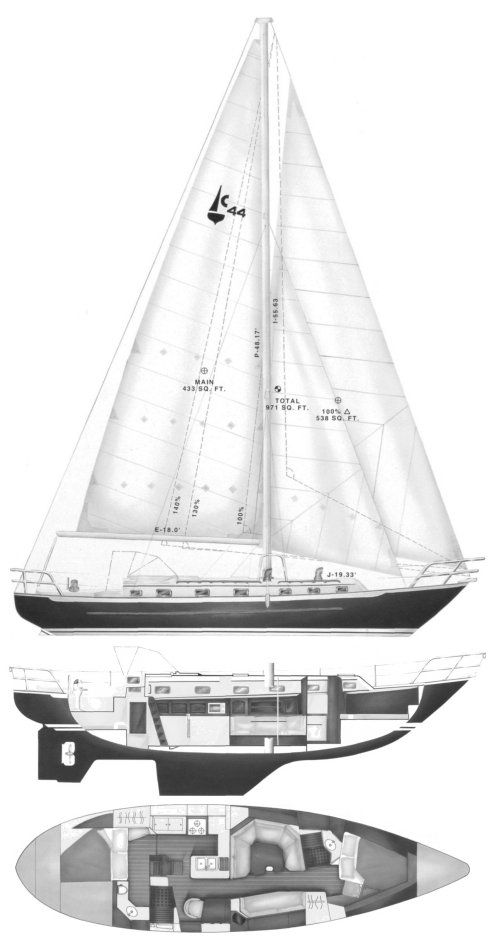 Pacific Seacraft 44 drawing on sailboatdata.com