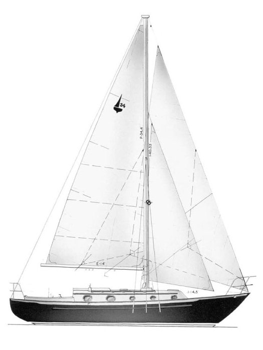 Pacific Seacraft Crealock 34 drawing on sailboatdata.com
