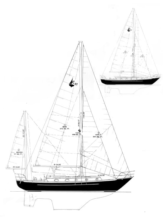Pacific Seacraft Crealock 37 drawing on sailboatdata.com