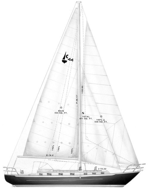 Pacific Seacraft Crealock 44 drawing on sailboatdata.com