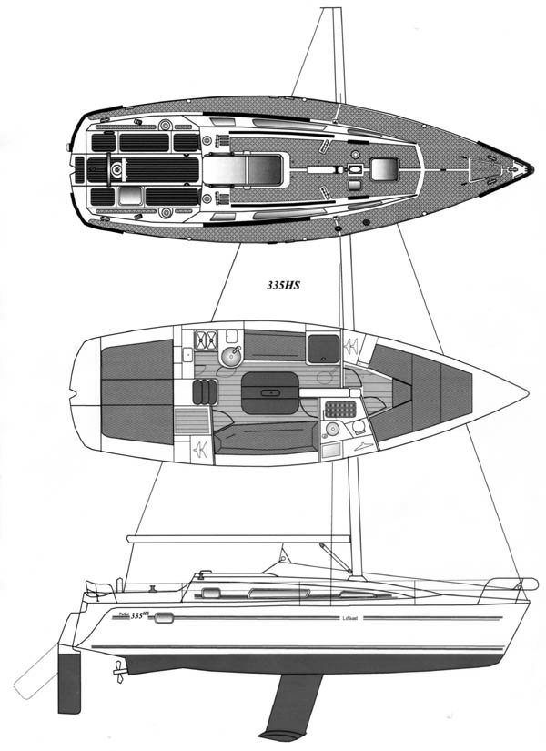Parker 335 drawing on sailboatdata.com