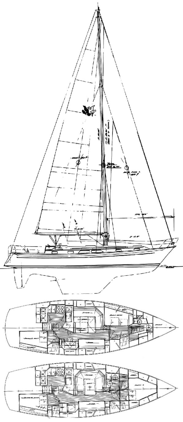 Passport 41 drawing on sailboatdata.com