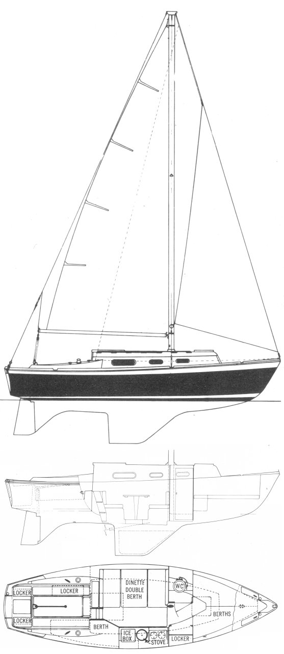Pawnee 26 drawing on sailboatdata.com