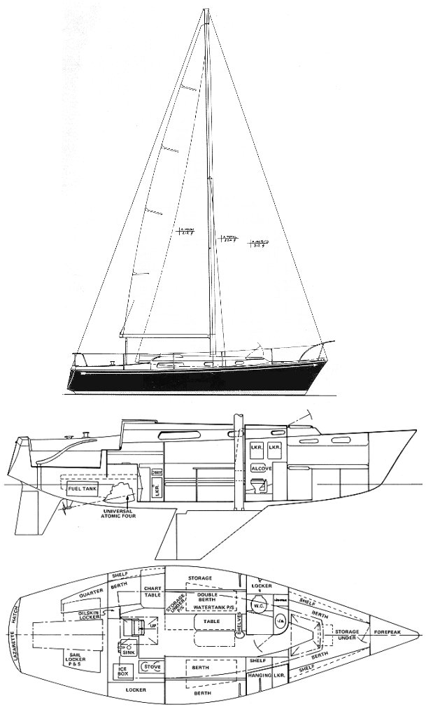 Pearson 10M drawing on sailboatdata.com