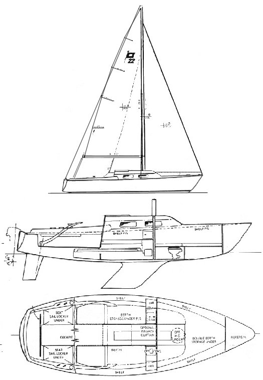 Pearson 22 drawing on sailboatdata.com
