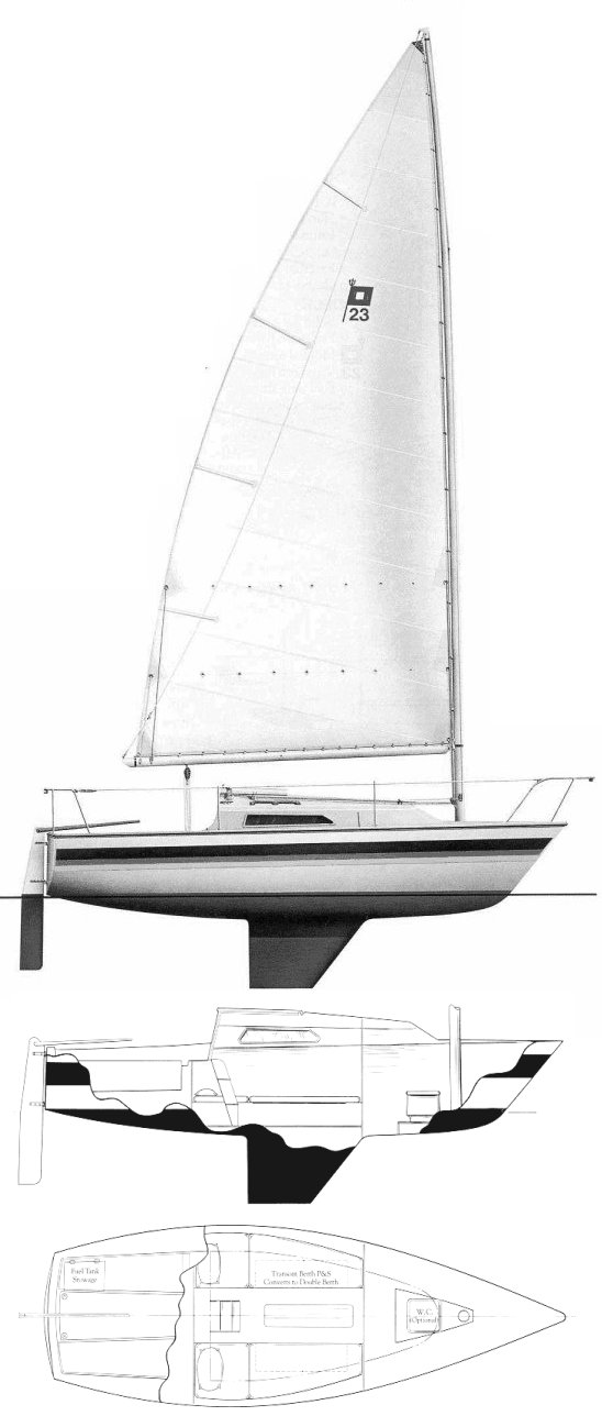 Pearson 23C drawing on sailboatdata.com