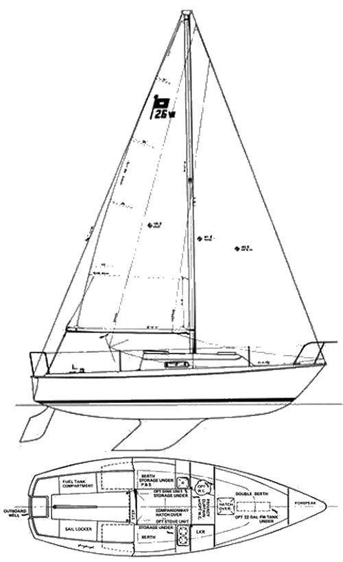Pearson 26W drawing on sailboatdata.com