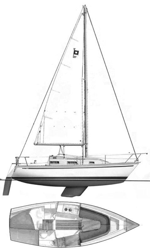 Pearson 27 drawing on sailboatdata.com