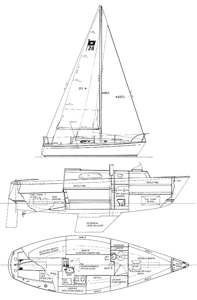 Pearson 28-1 drawing on sailboatdata.com