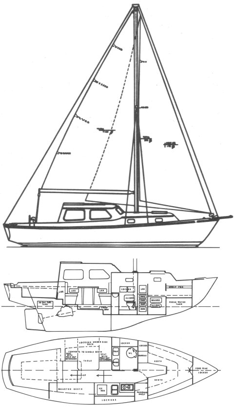 Pearson 300 drawing on sailboatdata.com