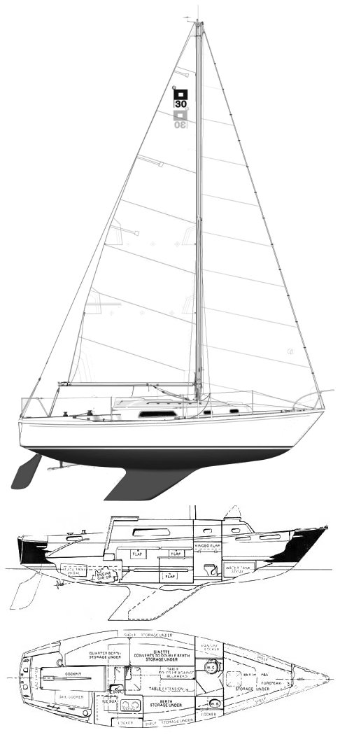Pearson 30 drawing on sailboatdata.com