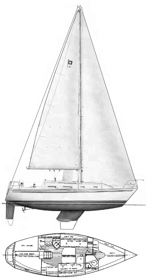 Pearson 31-2 drawing on sailboatdata.com