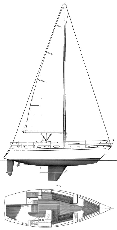 Pearson 33-2 drawing on sailboatdata.com