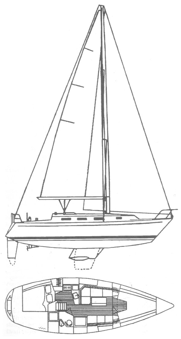 Pearson 34/35-2 drawing on sailboatdata.com