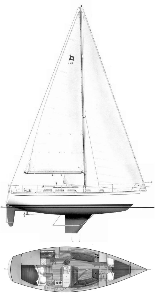 Pearson 36-2 drawing on sailboatdata.com