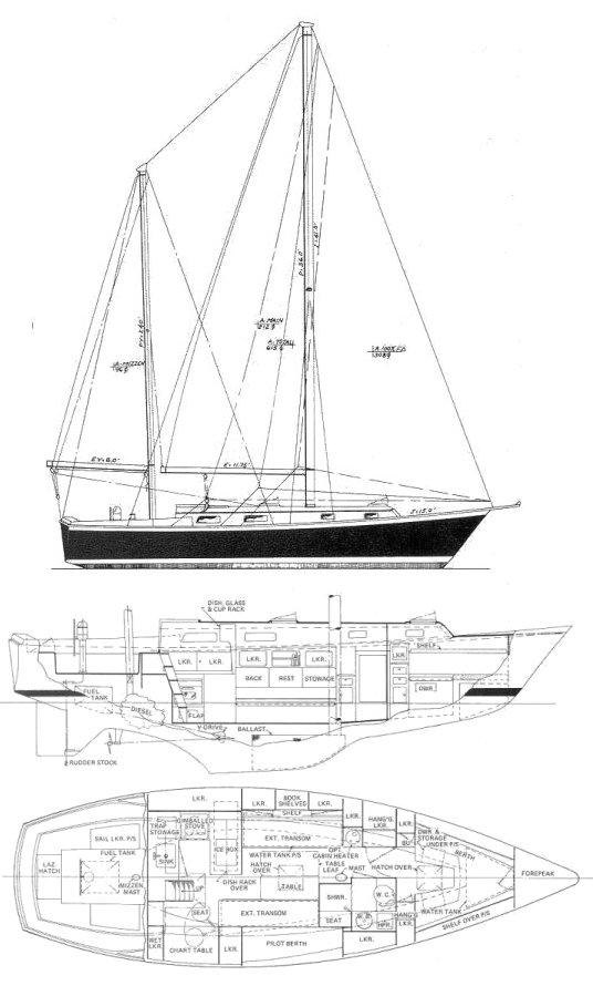 Pearson 365 drawing on sailboatdata.com