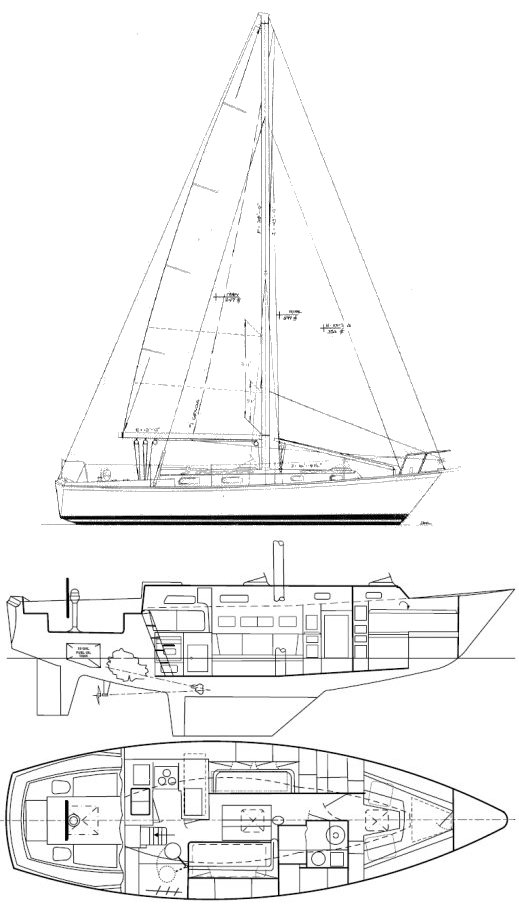 Pearson 36 Cutter drawing on sailboatdata.com