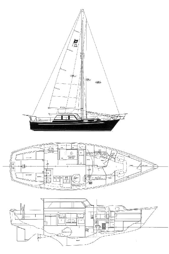 Pearson 36 Pilothouse drawing on sailboatdata.com