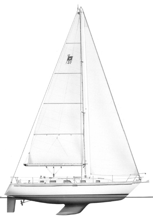 Pearson 37-2 drawing on sailboatdata.com