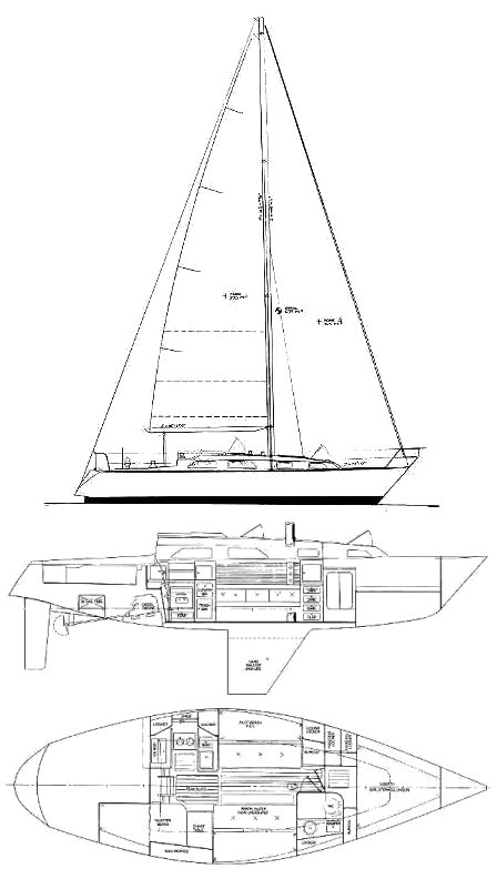 Pearson 37 drawing on sailboatdata.com