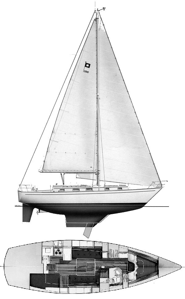 Pearson 386 drawing on sailboatdata.com