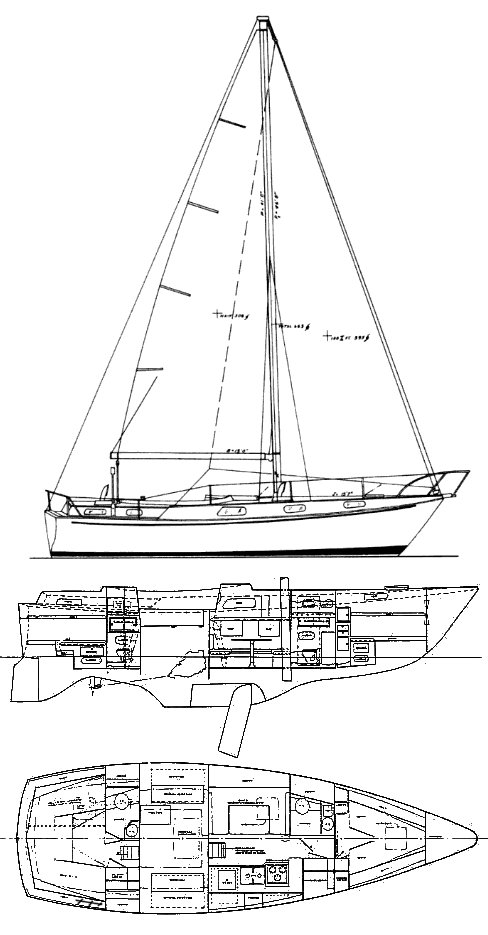 Pearson 390 drawing on sailboatdata.com